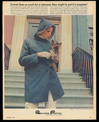 1966 Yorkshire Terrier photo Celanese Fortrel Great Six womens raincoat print ad