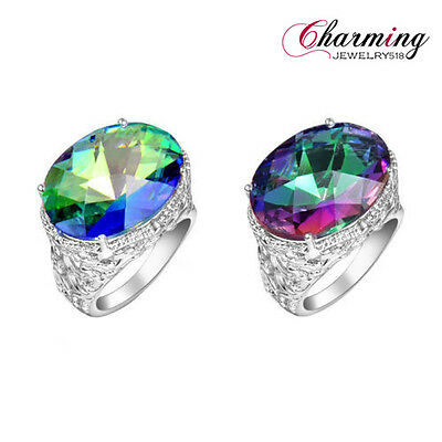 Crazy Sale ! Oval Rainbow Mystical Topaz Gemstone Silver Ring For Christmas Gift