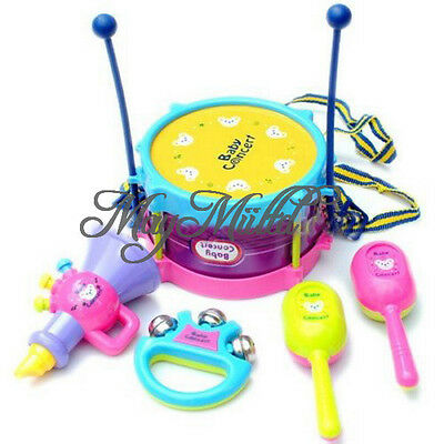 5Pcs  Kids Baby Roll Drum Musical Instruments Band Kit Children Toy Gift Set G