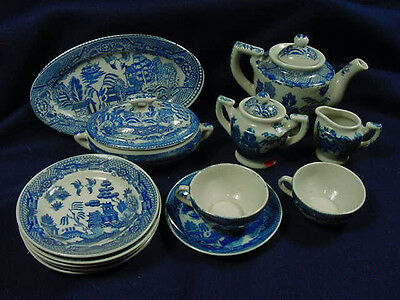 CHILD'S BLUE WILLOW TEA SET ~ 12 PIECES ~ MADE IN JAPAN