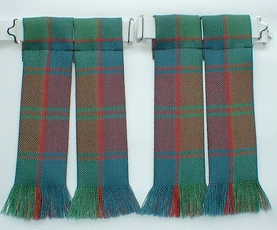 Kilt Hose Flashes Robertson Red Ancient Tartan Fringed Worsted Wool Kiltwear New