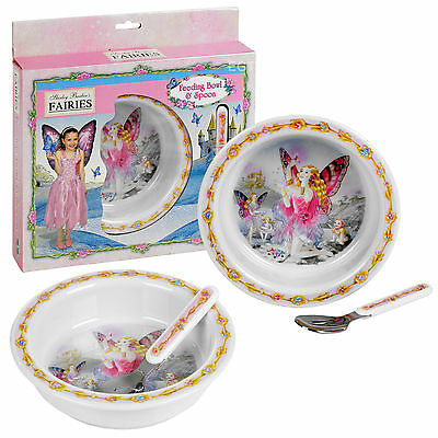 Kids Shirley Barber's Fairies Dinner Set Plate Bowl Spoon Melamine Food Supper