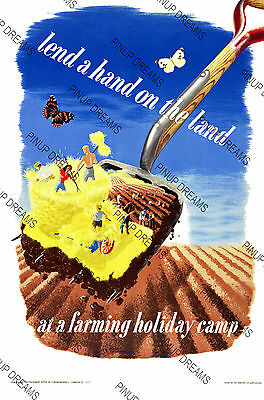 "Vintage Nostalgic Wartime Poster ""Lend a Hand on the Land"" Retro re-print A4, A3"