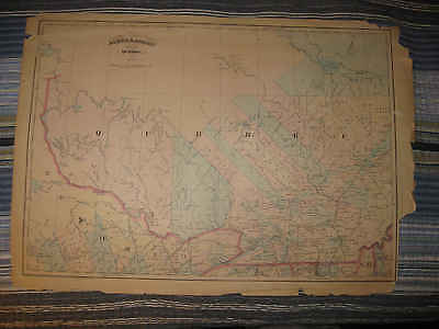 Large Antique 1871 Quebec Canada Handcolor Map Pontiac Ottawa Argenteuil County