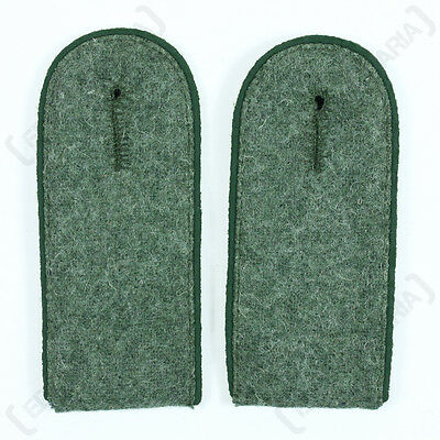 WW2 German Army EM Field Grey SHOULDER BOARDS - Panzer Grenadier Green Piping