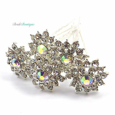Bridal Wedding Silver Crystal Diamante Large Flower Hair Pins Clips Grips HP04