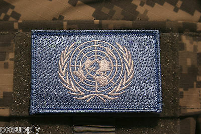 "un flag patch embroidered hook loop backing united nations blue tactical 3"" x 2"""