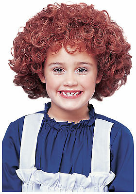 Child Little Orphan Annie Natural Red Auburn Curly Afro Kids Girls Costume Wig