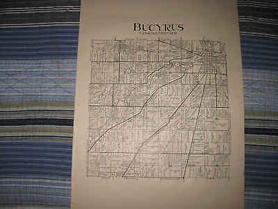 Large Antique 1912 Jackson Jefferson Bucyrus Township Crawford County Ohio Map N