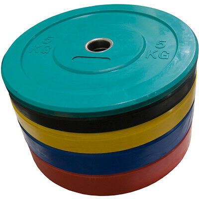 2 x 5-25kg Olympic Rubber Bumper Weight Plates Crossfit Powerlifting Coloured