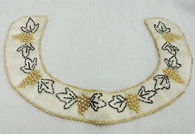 Baar & Beards Vintage Beaded Collar Grape Design Hit Fashion Ecru Satin