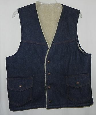 Vintage Indigo Denim Sherpa Faux Sheepskin Fleece lined Snap Western Vest S