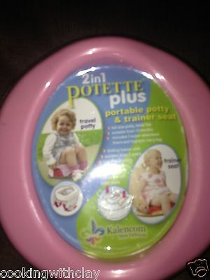 2 IN 1 POTETTE PINK PORTABLE VACATION TRAVELING POTTY TRAINER SEAT KALENCOM