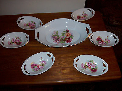Vintage Large German Germany Reticulated Bowl Dish w 6 Dishes Set Roses Flowers