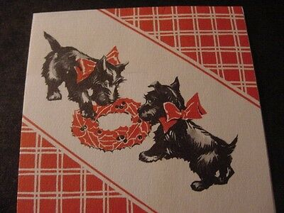 Vintage 1930s Pair SCOTTISH TERRIERS Fighting Over Wreath CHRISTMAS Card