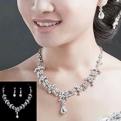 Bridal Wedding Rhinestone Crystal Necklace & Earrings Plated Sliver Jewelry Sets