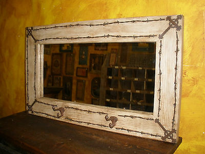 Trailride Rustic Barbed Wire Cross Mirror-Mexican-34x20-Western-Hat Rack-Shabby