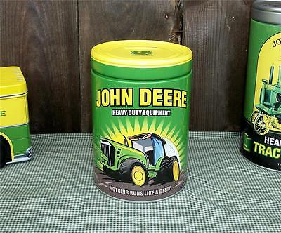 "John Deere Tractor 6"" Tin Metal Round Kids Saving Bank - Officially Licensed"
