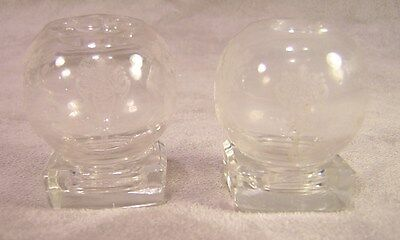 Cambridge ROSE POINT Individual Round Ball with Glass Base Shakers ~ Pair ~As Is