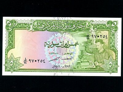 Syria:P-94d,5 Pounds 1973 * Worker * UNC *