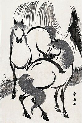 6305.hand painted portrait of two asian horsesPOSTER.Home Office art