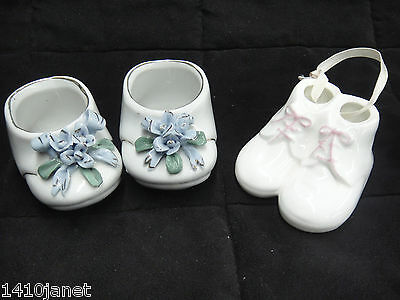 Vintage Porcelain Baby Booties Lot Pair with Applied Flowers & Hanging Ornament