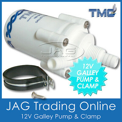12V TMC 100 GPH PUMP ONLY & CLAMP-Electric Galley Water Pump for Boat/Caravan/RV