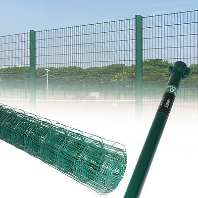 0.9M 1.2M Green PVC Coated Steel Mesh Fencing Wire Galvanised Fence 1.5M Stakes
