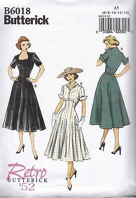 Retro Butterick Sewing Pattern Misses' 1952 Dress Various Neckline  6 - 22 B6018