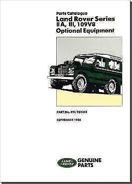 Land Rover Series 2A 3 & 109 V8 Optional Equipment Parts Catalogue RTC9842CE