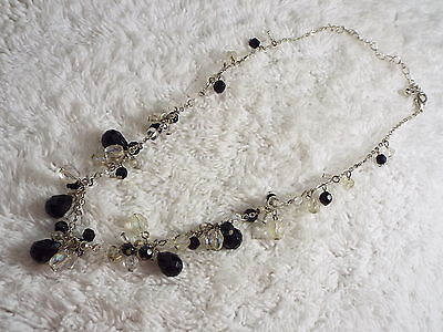 Silvertone Clear & Black Dangly Bead Necklace  (C56)