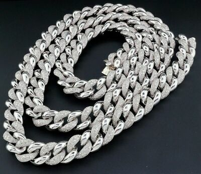 Diamond Miami Cuban Chain Mens .925 Sterling Silver 11 MM Necklace Link 8 Ct.