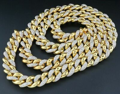 Real Diamond Miami Cuban Chain Mens Sterling Silver 11mm Necklace Link 8 CT.