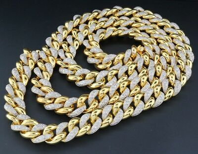 Real Diamond Miami Cuban Chain Mens Sterling Silver 11 MM Necklace Link 8 Ct.