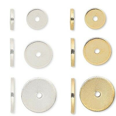20 Steel Metal Flat Spacer Disc Heishi Rondelle Beads Small - Big 1mm Thick