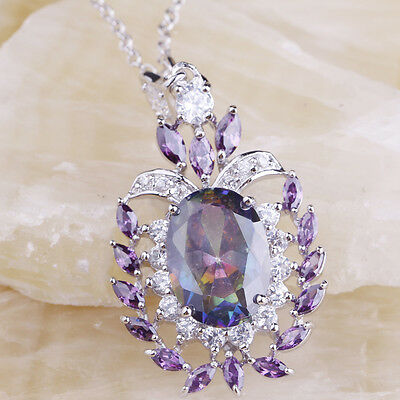 Cocktail Rainbow & White Topaz Amethyst Gems Silver Necklace Pendant Free Ship