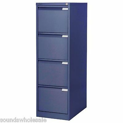 4 Drawer Flush Pro Bisley Steel Filing Cabinet / Blue / A4 /  New + Free Del