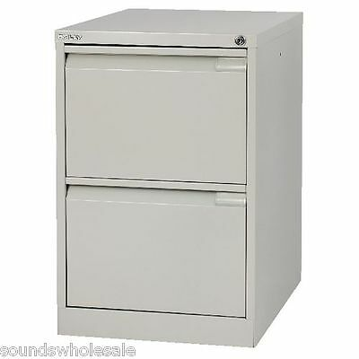 2 Drawer Flush Pro Bisley Steel Filing Cabinet Grey / A4 / New +Free Del