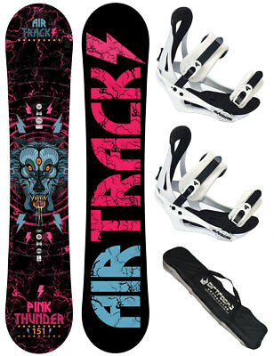 AIRTRACKS Snowboard Set: Pink Thunder+Bindung Savage W+SB Bag+Pad/146 150 156cm/