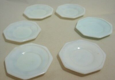 Akro Agate - Octagonal Small Plate or Large Saucer (6) White