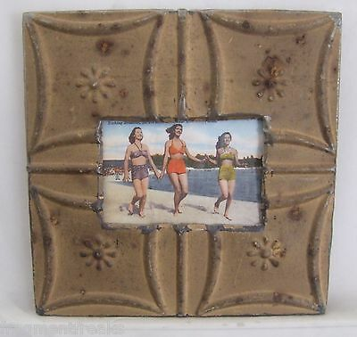 ANTIQUE Ceiling Tin Picture Frame 4 x 6  Brown Metal Chic