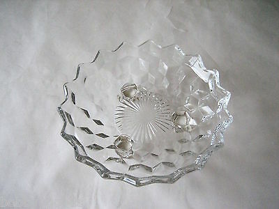 VINTAGE FOSTORIA AMERICAN CLEAR CUT DEPRESSION GLASS FOOTED CANDY NUT DISH