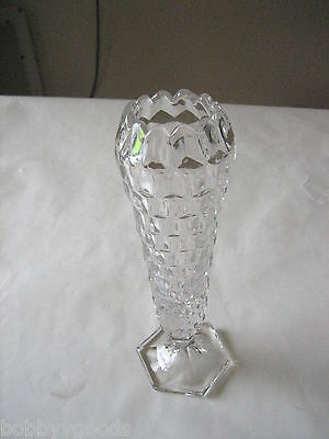 VINTAGE FOSTORIA AMERICAN CLEAR CUT DEPRESSION GLASS HEX FOOTED BUD VASE