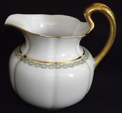 Delinieres & Co  D&Co L. Bernardaud Decorated Pitcher w/ Gold Handle Green Vines