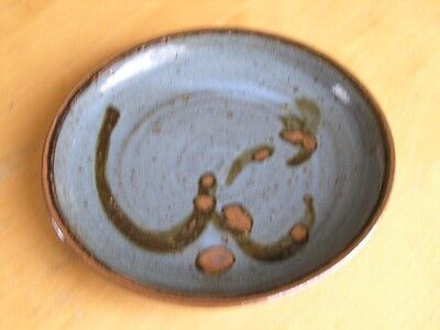 Great Vintage Glazed Studio Pottery Plate Signed dated Kate '78 Abstract