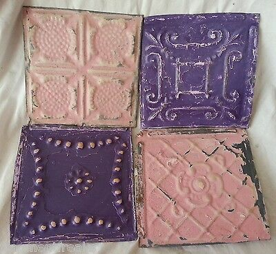 "4 6"" x 6""  Antique Tin Ceiling Tiles *SEE OUR SALVAGE VIDEOS* ML1 Pink Purple"