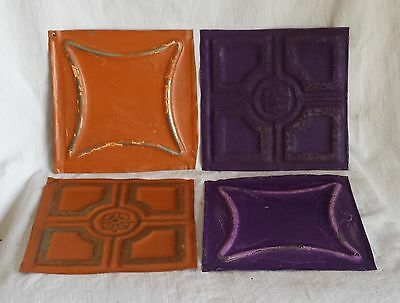 "4 6"" x 6"" Antique Tin Ceiling Tiles*SEE OUR SALVAGE VIDEOS*  Purple Orange Fz12"