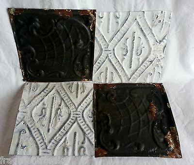 "4 6"" x 6"" Antique Tin Ceiling Tiles* SEE OUR SALVAGE VIDEOS* Dd16 Black & White"