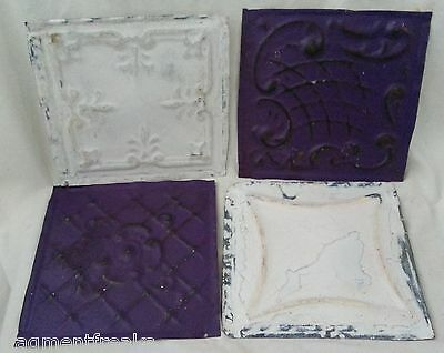 "4 6"" x 6"" Antique Tin Ceiling Tiles *SEE OUR SALVAGE VIDEOS* FF5 Purple White"
