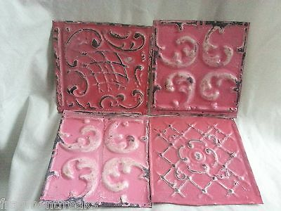 "4 6"" x 6"" Antique Tin Ceiling Tiles* SEE OUR SALVAGE VIDEOS* NN48 Pink"